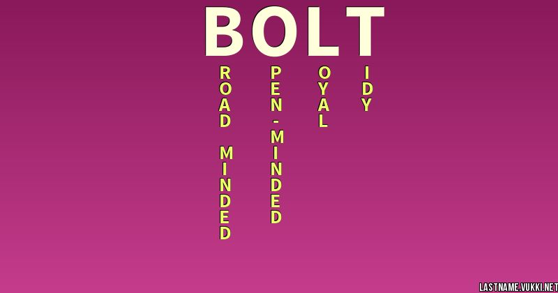 Last Name Meaning Bolt