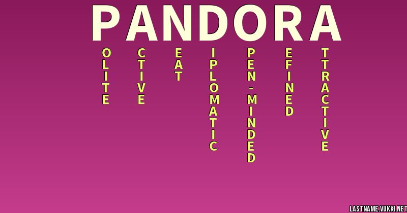 Last name meaning - pandora