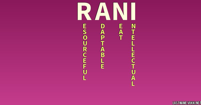 Ranee - Girl Name - Meaning & Personality Large Print
